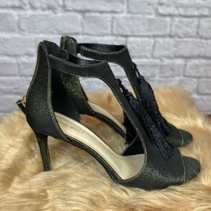 Sexy Nine West heels - black with gold shimmer